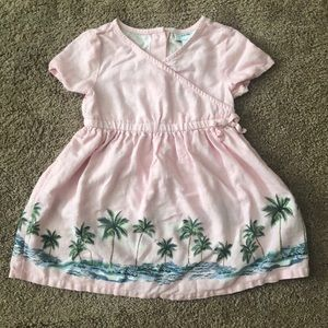 Toddler girl dress with palm tree print
